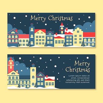 Platte ontwerp kerst stad banners set