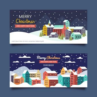 Platte ontwerp kerst stad banners sjabloon