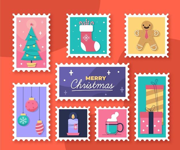Platte ontwerp kerst stempel collectie