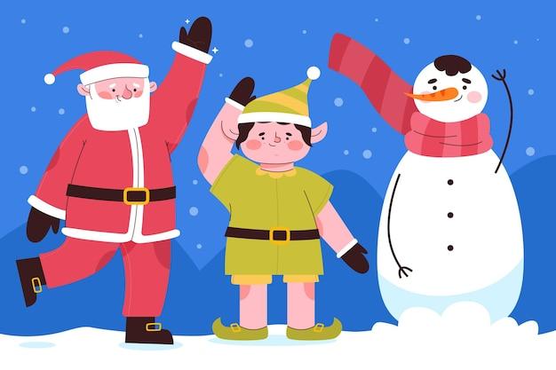 Platte ontwerp kerst tekens collectie