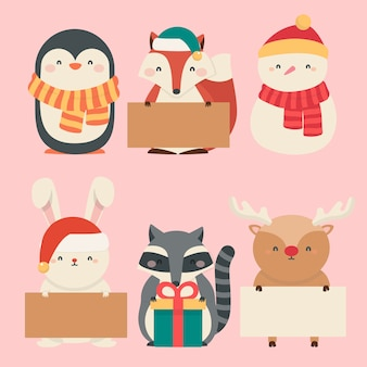 Platte ontwerp kerst tekensverzameling