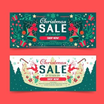 Platte ontwerp kerst verkoop banners pack