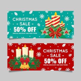 Platte ontwerp kerst verkoop banners set