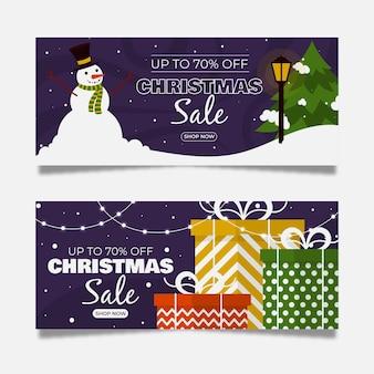 Platte ontwerp kerst verkoop banners sjabloon