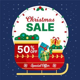 Platte ontwerp kerst verkoop concept