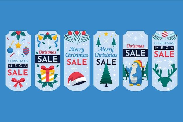 Platte ontwerp kerst verkoop tag-collectie