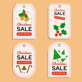 Platte ontwerp kerst verkoop tag set