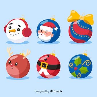 Platte ontwerp kerstballen set