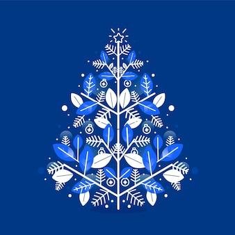 Platte ontwerp kerstboom illustratie