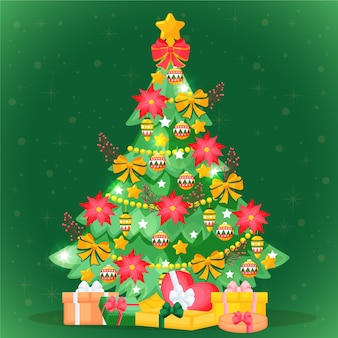 Platte ontwerp kerstboom met geschenken