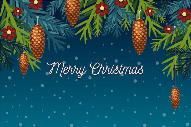 Platte ontwerp kerstboom takken achtergrond