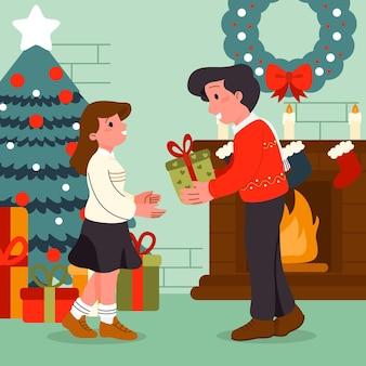 Platte ontwerp kerstcadeaus scène met man en vrouw