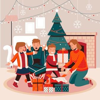 Platte ontwerp kerstcadeaus scène