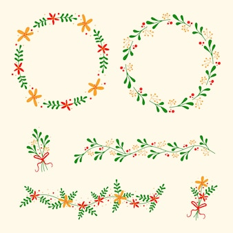 Platte ontwerp kerstdecoratie met krans