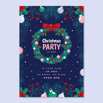 Platte ontwerp kerstfeest flyer