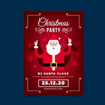 Platte ontwerp kerstfeest poster sjabloon