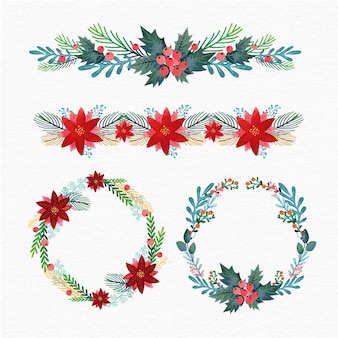 Platte ontwerp kerstkaders en randen collectie