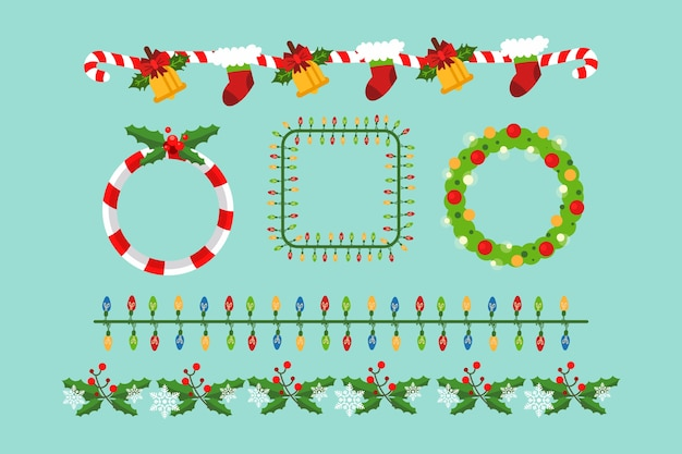 Platte ontwerp kerstkaders en randen