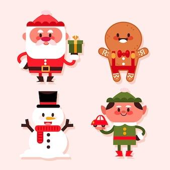 Platte ontwerp kerstkarakterverzameling