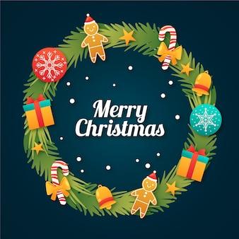 Platte ontwerp kerstkrans met cadeautjes
