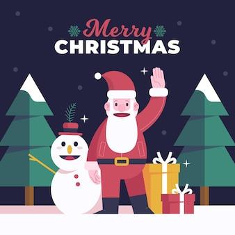 Platte ontwerp kerstman achtergrond
