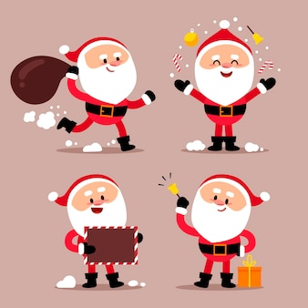 Platte ontwerp kerstman tekenset