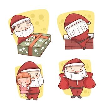 Platte ontwerp kerstman tekensverzameling