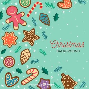 Platte ontwerp kerstmis achtergrond met kopie ruimte