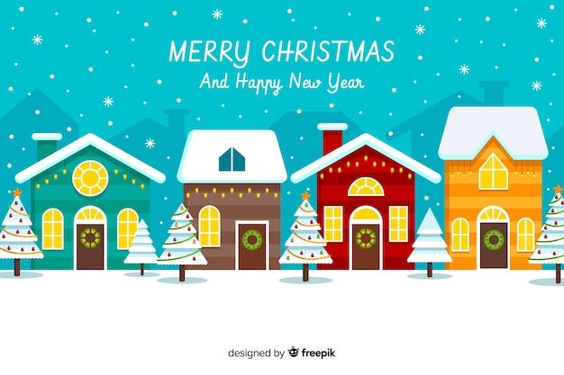 Platte ontwerp kerstmis achtergrond