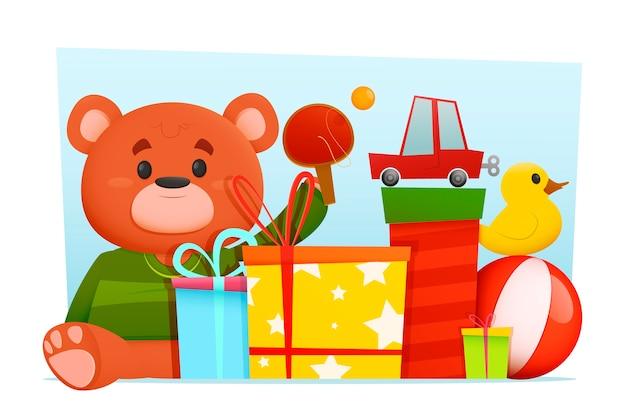 Platte ontwerp kerstmis speelgoed achtergrond