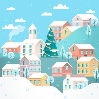 Platte ontwerp kerstmis stad achtergrond