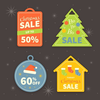 Platte ontwerp kerstmis verkoop tag collectie