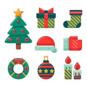 Platte ontwerp kerstset element