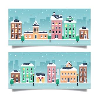 Platte ontwerp kerststad banners sjabloon