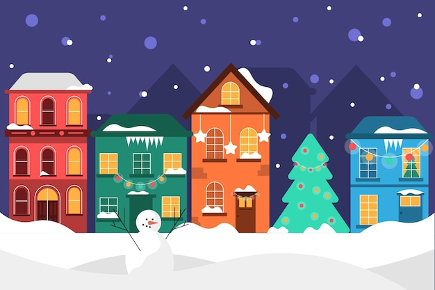 Platte ontwerp kerststad illustratie