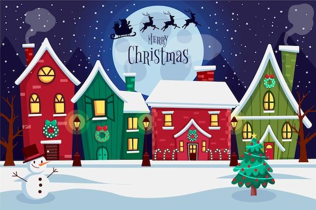Platte ontwerp kerststad