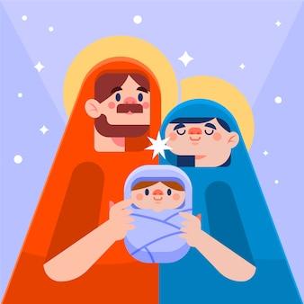 Platte ontwerp kerststal concept