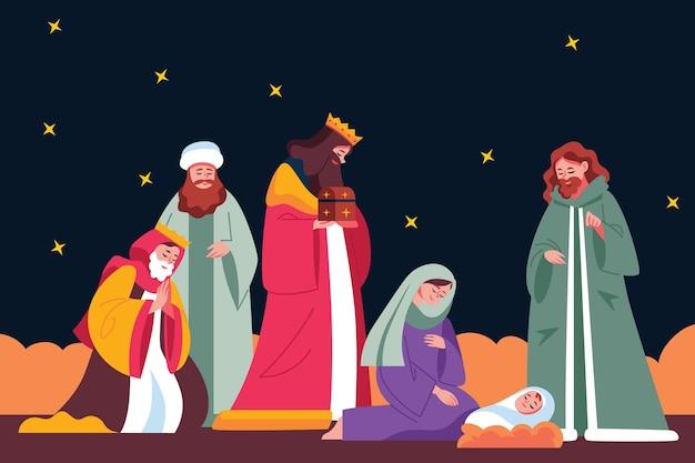 Platte ontwerp kerststal