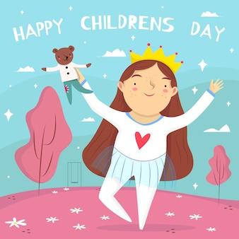 Platte ontwerp kinderdag achtergrond met meisje