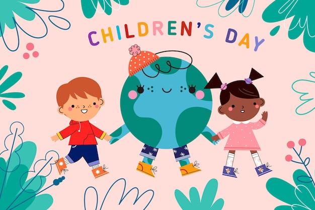Platte ontwerp kinderdag en planeet aarde