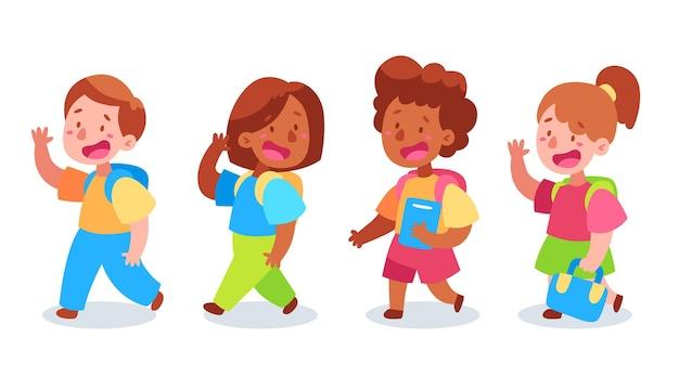 Platte ontwerp kinderen terug naar school-set