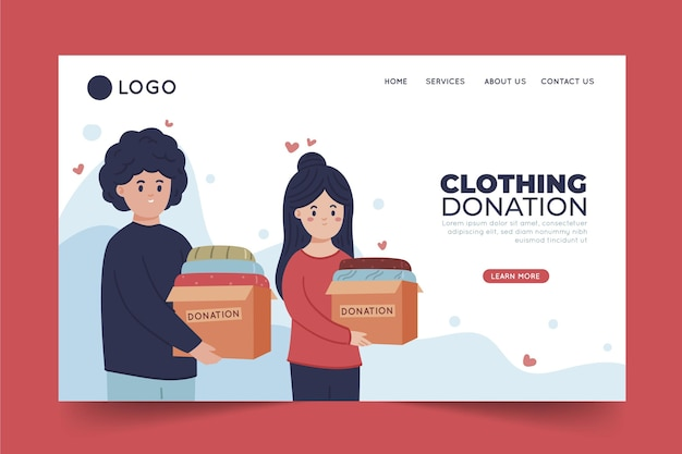 Platte ontwerp kleding donatie concept