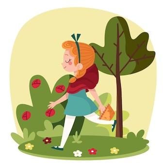 Platte ontwerp kleine roodkapje verhaal illustratie