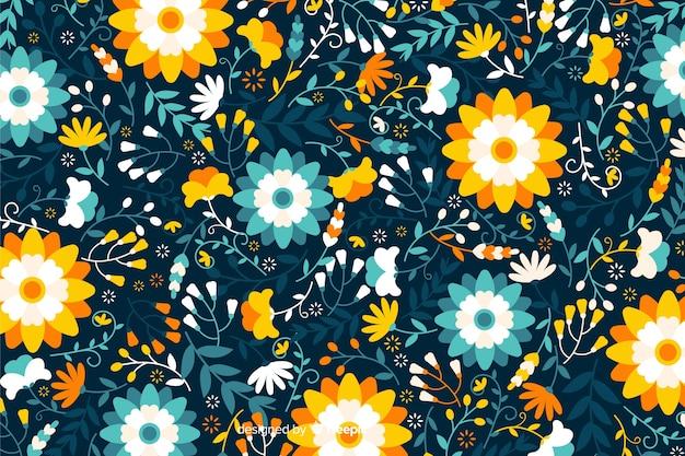 Platte ontwerp kleurrijke bloemen achtergrond