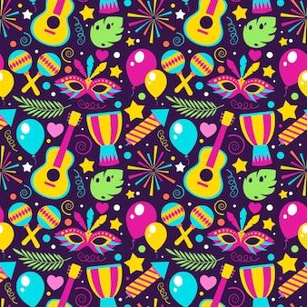 Platte ontwerp kleurrijke braziliaanse carnaval patroon