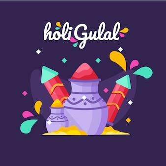 Platte ontwerp kleurrijke holi gulal