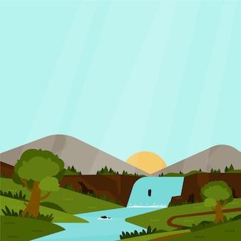 Platte ontwerp kleurrijke lente landschap
