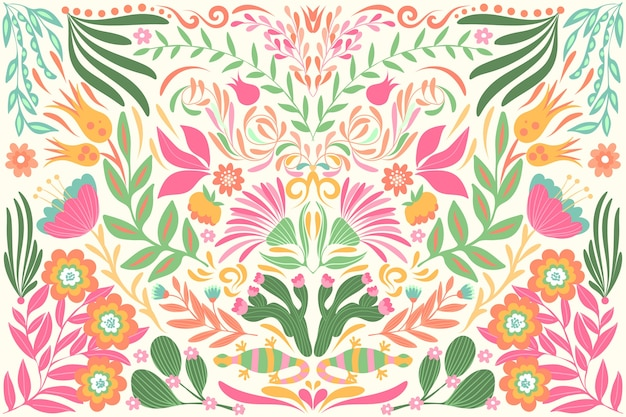 Platte ontwerp kleurrijke mexicaanse wallpaper thema