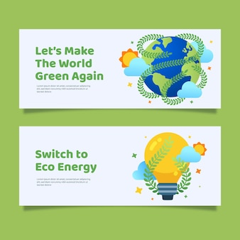 Platte ontwerp klimaatverandering banners