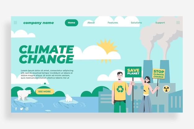 Platte ontwerp klimaatverandering bestemmingspagina